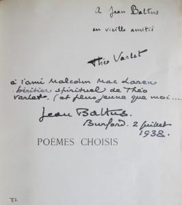 Poemes Choisis. Dedicace Jean Baltus à Malcolm MacLaren. 2 juillet 1938