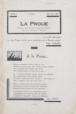 La Proue nº 6. Mars-avril 1930. Poème-hommage de Théo Varlet.