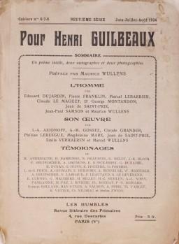 Les Humbles. Pour Henri Gulbeaux. Juin-juillet-aout 1924. Couverture avant.