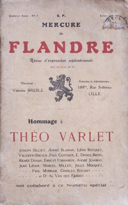 Mercure de Flandre. Hommage à Théo Varlet.(janvier 1925). Couverture avant.
