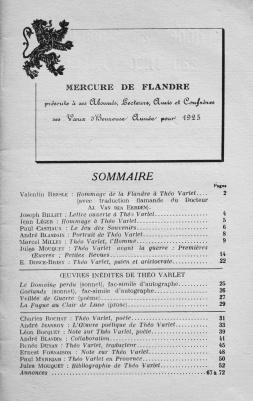Mercure de Flandre. Hommage à Théo Varlet.(janvier 1925). Sommaire.