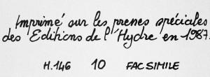 Théo Varlet. La Bella Venere. Éditions de l'Hydre, 1987. Achevé d'imprimer