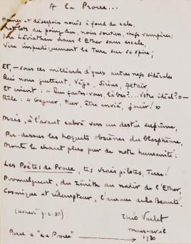 A la Proue. Sonnet de Théo Varlet transcrit à la main par Malcolm McLaren