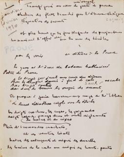 A la Proue. Sonnet manuscrit de Théo Varlet. Feuillet nº 1