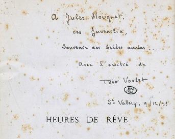 Heures de Rêve. Envoi de Théo Varlet à Jules Mouquet. Courtoisie de la Médiathèque du Centre-Jean Lévy de la Bibliothèque Municipale de Lille.