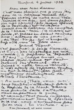 Lettre de Jean Baltus à Malcolm Mac Laren. 4 juillet 1938. Page 1