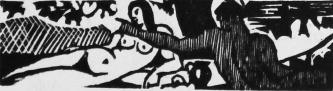 Varlet, Théo. Aux Îles Bienheureuses. Grasse: Éditions de l'Artisan, 1925. Bandeau gravé au canif par Lucien-Jacques