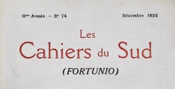 Les Cahiers du Sud (Fortunio), Nº 74 — 11ème année, Décembre 1925. Couverture avant.