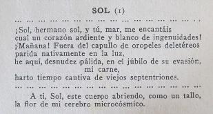 Salardenne, Roger. Un mes entre desnudistas. Nuevo reportaje en Alemania. Traduction de Isidro Maltrana. Barcelona, Antonio López, 1932: 216. Extrait du poème «Soleil» .