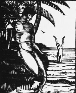 Varlet, Théo. Aux Îles Bienheureuses. Grasse: Éditions de l'Artisan, 1925. Frontispice gravé au canif par Lucien-Jacques.