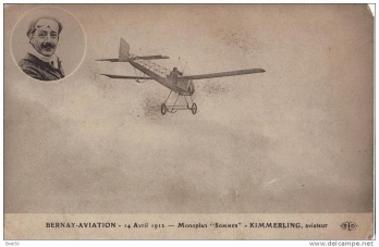 "Bernay-Aviation. 14 Avril 1912. Monoplan ""Sommer"". Kimmerling, aviateur (image prise de www.delcampe.net)."