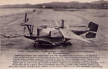 """L'Hydravion """"La Marseillaise"""", offert à l'Armée, par la souscription du """"Petit Marseillais"""" (image prise de www.delcampe.net)."""