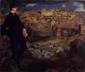 Maurice Barrès devant Tolède. Par le peintre espagnol Ignacio Zuloaga. © ADAGP, © Musée Lorrain, Nancy - Photo, P.Mignot