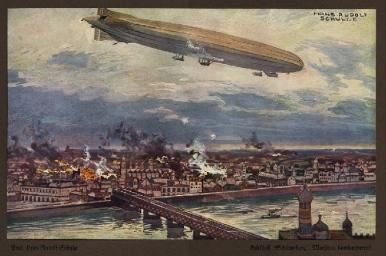 Carte postale: Zeppelin bombardant Varsovie en 1914 (Hans Rudolf Schulze). Paris sera bombardé à son tours le 21 mars 1915. Source: http://www.akpool.fr/cartes-postales.