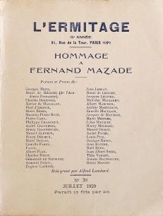 Hommage à Fernand Mazade. L'Hermitage. Paris: nº 39 juillet 1929. Couverture avant.