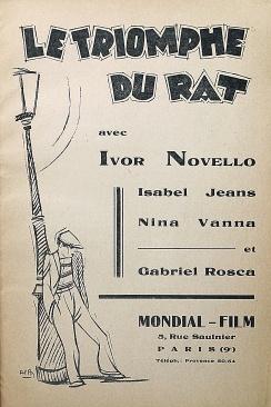 """Le rouge et le noir. Cahier spécial sur le cinéma. Henri Lamblin directeur. Paris: Editions le rouge et le noir, juillet 1928. Publicité pour """"Le triomphe du rat"""", réalisé par Graham Cutts: n/p."""