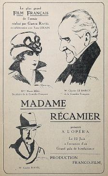"""Le rouge et le noir. Cahier spécial sur le cinéma. Henri Lamblin directeur. Paris: Editions le rouge et le noir, juillet 1928. Publicité pour le film """"Madame Récamier"""", réalise par Gaston Ravel: n/p."""