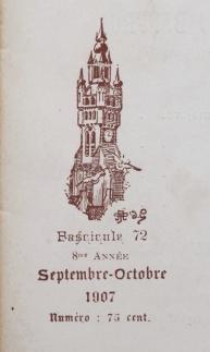 Le Beffroi. Lille: Fascicule 72, 8me année, septembre-octobre 1907. Emblème de la revue. Couverture avant.