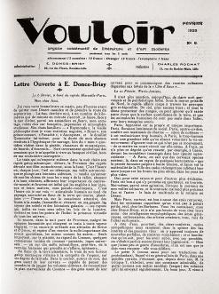 Vouloir. Organe constructif de littérature et d'art moderne. Lille, nº 8 - février 1925. Page couverture.