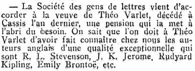 Journal des débats politiques et littéraires. Paris: 151e année - Nº 181. 30 juillet 1939. Page 3. Annonce de la pension accordée à Mme Théo Varlet.