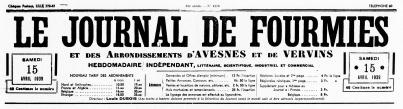 Journal de Fourmies. Bandeau. Lille: Louis Dubois directeur. 63e année - Nº 4270. 15 avril 1939